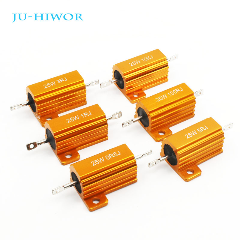 2pcs RX24 25W Aluminium Housed High Power Resistor Metal Shell Heatsink Resistance 0.1 0.5 1 10 20 30 50 Ohm Multiple Values