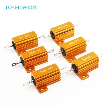 цена на RX24 25W Aluminium Housed High Power Resistor Metal Shell Heatsink Resistance 0.1 0.5 1 10 20 30 50 Ohm Custom Values