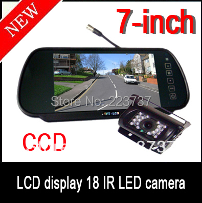 "new 7 ""LCD Monitor + CCD HD Reverse Camera Car Rear View Kit Free shipping"