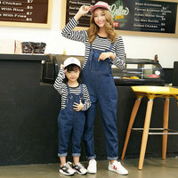 2 15 T Autumn Mother Daughter Matching Clothes Sets 2pcs Striped Shirt+ Rompers Family Look Clothing Outfits 2018 New Suit