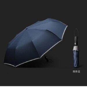 Image 2 - Guarda chuva reflexivo dez bone completo automático guarda chuva três dobrável resistente ao vento high end business guarda chuva duplo