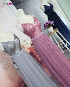 Image 5 - Длинные платья для выпускного вечера 2020 EP07455OD Элегантные платья трапециевидной формы с v образным вырезом из тюля для свадебной вечеринки с блестками Vestidos De Fiesta Elegantes Largos
