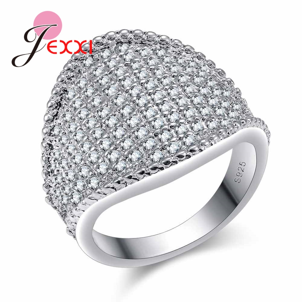 JEXXI S90 Silver Engagement Cocktail Ring For Women & Men Zircon With A Lot Of   Rhinestone Wedding Jewellery Gift