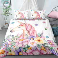 BOMCOM 3D Digital Printing Watercolor Hand Drawn Floral Sleeping Rainbow Unicorn Bedding Set 100% Microfiber Pink