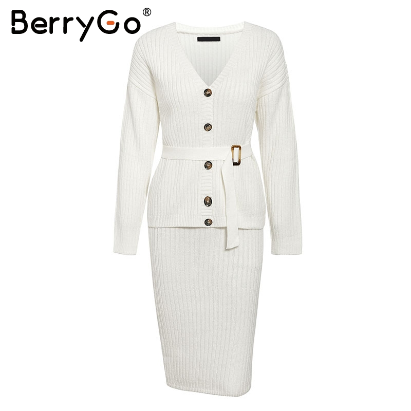 BerryGo Two-piece women knitted dress set Elegant autumn winter sweater dress suits Long sleeve button sashes female skirt suit 5