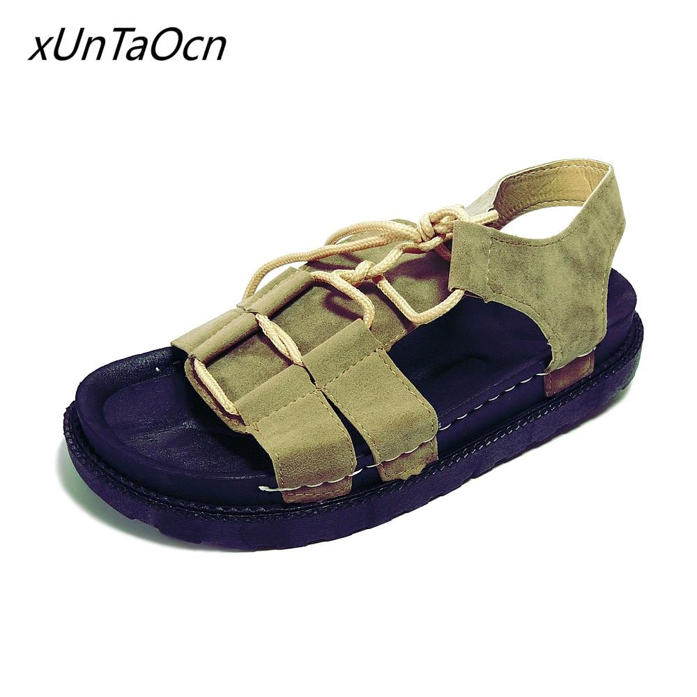Suede women Lace up shoes platform Female thick sole Footwear open toe lady Peep Toe woman nubuck T strap Sandals black brown