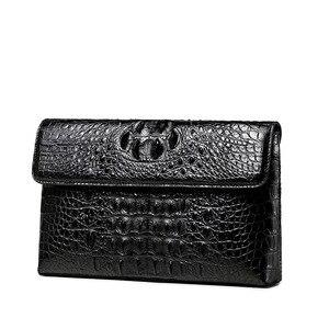 Image 2 - Luksusowy skórzany portfel kopertówka mężczyźni prawdziwy krokodyl cltuch torba dla mężczyzn prawdziwy portfel skóry aligatora z nadgarstkiem moda torba męska