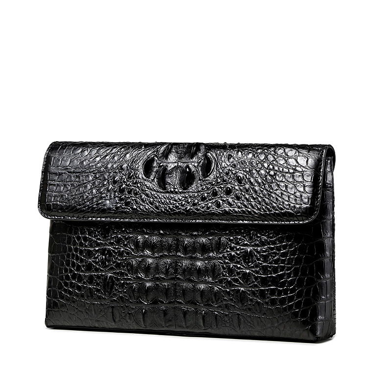 Image 2 - Luxury leather clutch wallet men Genuine crocodile cltuch bag for male Real alligator skin wallet with wristband Fashion Men BagWallets   -
