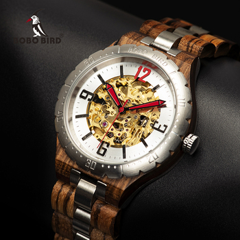 BOBO BIRD Mechanical Watch Men Wooden Timepieces Waterproof Automatic Watches Top Brand Luxury Wristwatches relogio masculino Men Creative Watches