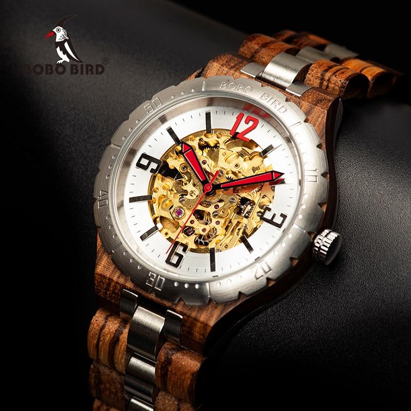 BOBO ptak zegarek mechaniczny mężczyźni drewniane zegarki wodoodporne zegarki automatyczne Top marka luksusowe zegarki na rękę relogio masculino w Zegarki mechaniczne od Zegarki na  Grupa 1