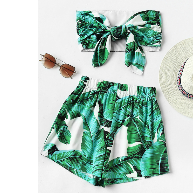 2018 Summer Boho Beach   Jumpsuits   Floral Leaves Pattern Print Strapless Bow Two-piece Rompers Women Sexy Playsuits Overalls J8615