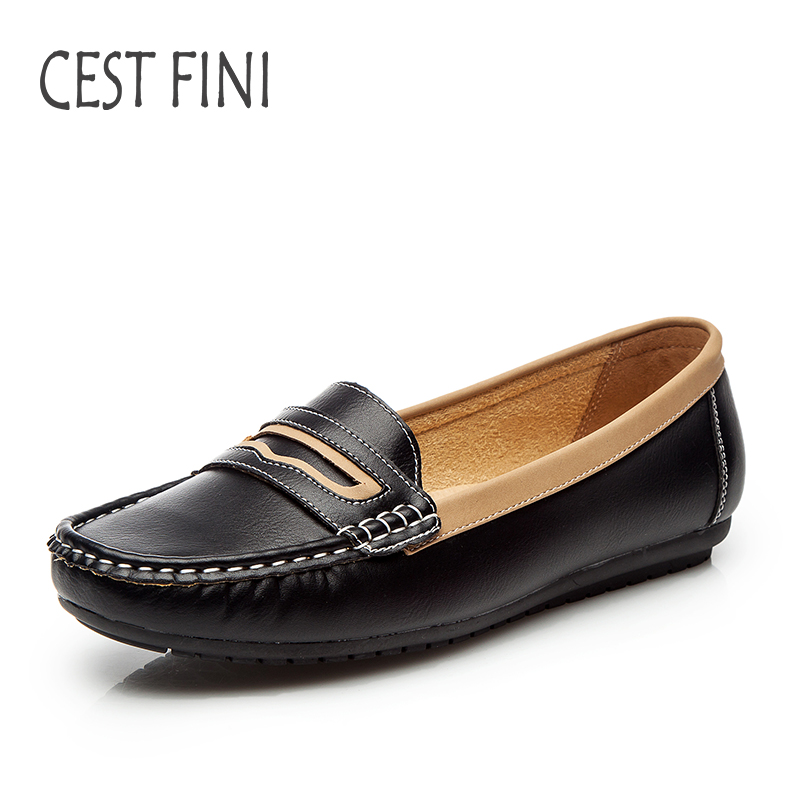 CESTFINI Flat Shoes Women handmade Loafers shoes slip on shoes for women leather flats spring Autumn