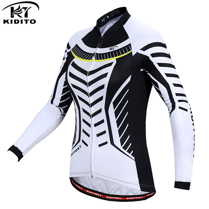 KIDITOKT Woman's Sportswear Quick-dry Woman 100% Polyester Cycling Jerseys Long Sleeve Bike Wear Bicycle Clothing Ropa Ciclismo