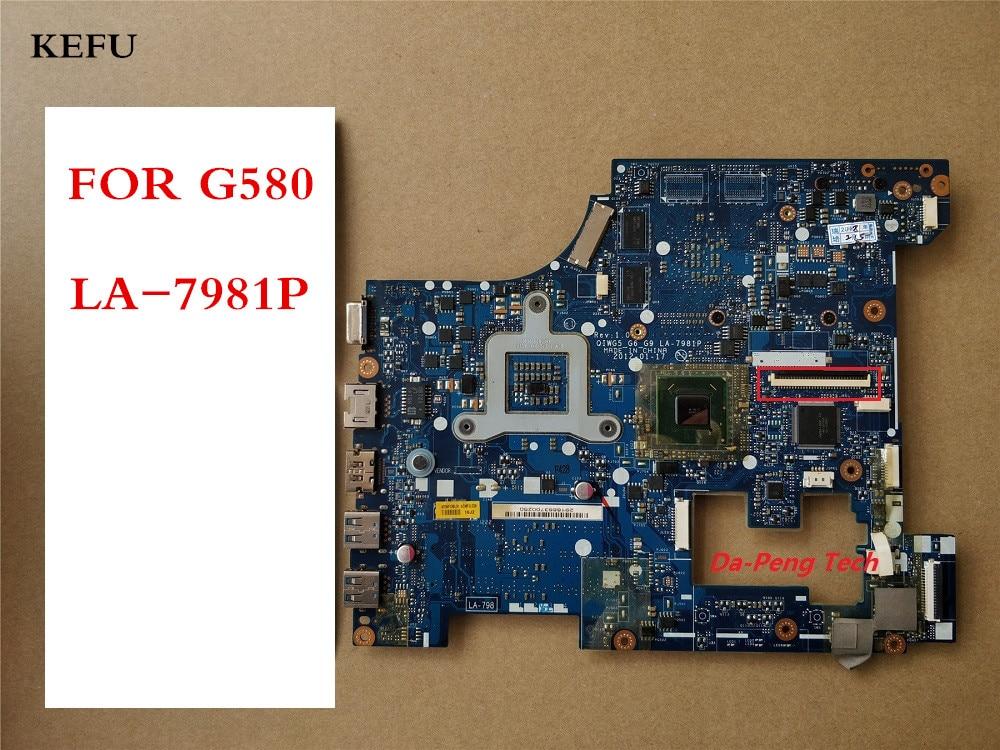 KEFU High Quality Motherboard For Lenovo Ideapad G580 Laptop Motherboard QIWG5 G6 G9 LA 7981P SLJ8E
