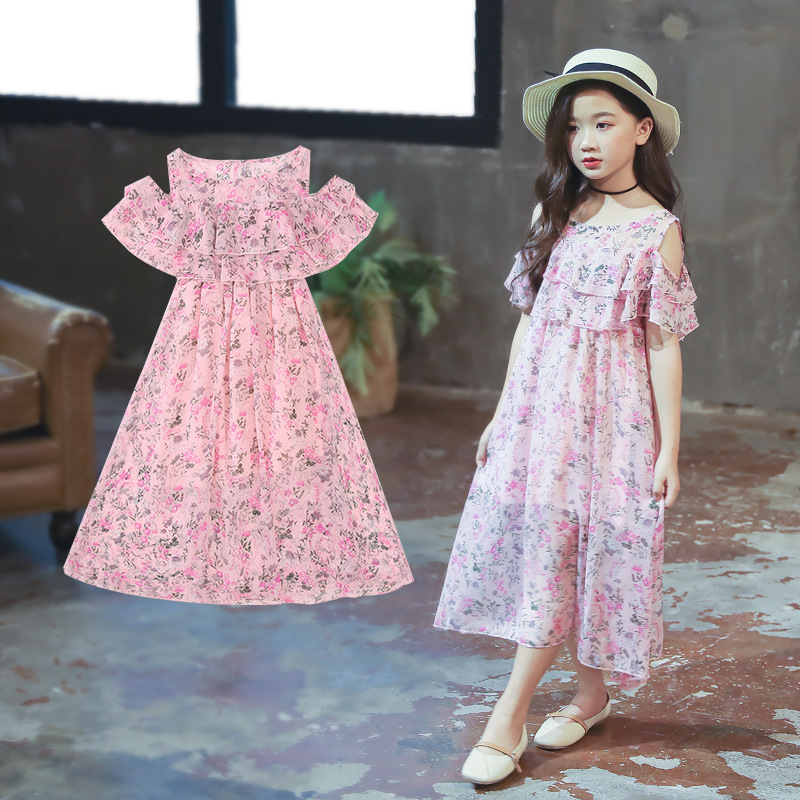 Short-sleeved open shoulder dress baby girl clothes 2019 New casual girls dress print princess dress baby girl clothes