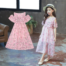 Short-sleeved open shoulder dress baby girl clothes 2019 New casual girls print princess