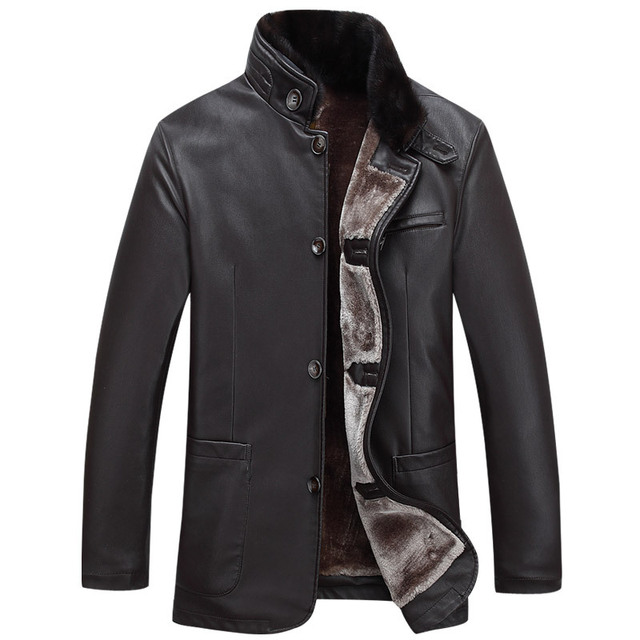 Winter 2016 Middle-aged Men Want A Mink Coat Big Yards Men Favors Sheep Leather Jacket Men With Cotton Warm Coat