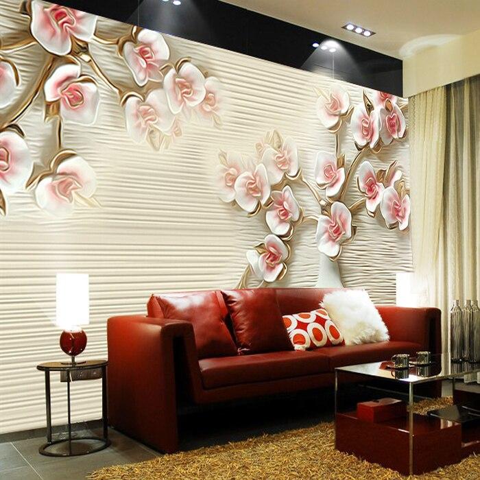 Plum Flower Mural Wallpaper European Full Wall Murals Print Decals Home Decor Photo In Wallpapers From Improvement On Aliexpress