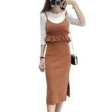 2019 streetwear pencil dress sleeveless office wear knitted A line women winter autumn pullover korean