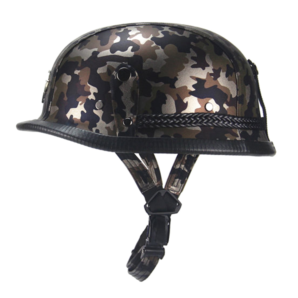 New German Style Camouflage Motorcycle Helmet Retro Vintage 1/2 Open Face Half Helmet Cruiser Chopper Scooter Casco Moto Helmet