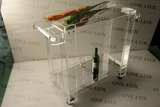 ONE LUX Mirrored Acrylic Lucite High transparency food bar cart, Plexiglass serving trolley on wheels