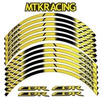MTKRACING 4 color For HONDA CBR General purpose motorcycle wheel decals Reflective stickers rim stripes CBR motorbike CBR