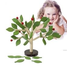 Собранные дерево зеленые листья здания Монтессори Деревянные игрушки плаху Рано Развивающие игрушки для детей обучающие игрушки