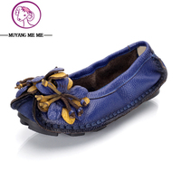 2017 Mulheres Sapatos de Couro Genuíno Mulher Sapatos Baixos Mocassins de Couro costuradas a Mão-de Couro Flexível Primavera Sapatos Casuais Mulheres Apartamentos