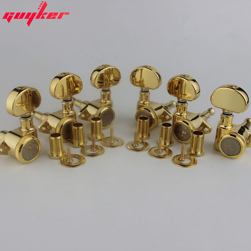 1 Set GUYKER 3R3L Locking String Sealed Tuning Key Pegs Gold Tuners Set Replacement For LP SG Style Electric Guitars
