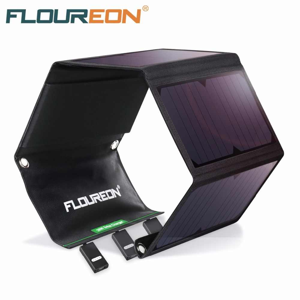 FLOUREON Solar Panel 5V 28W 21W 15W Portable Foldable Solar Charger Power Bank 2 3 USB Port Waterproof for Smartphone Tablet