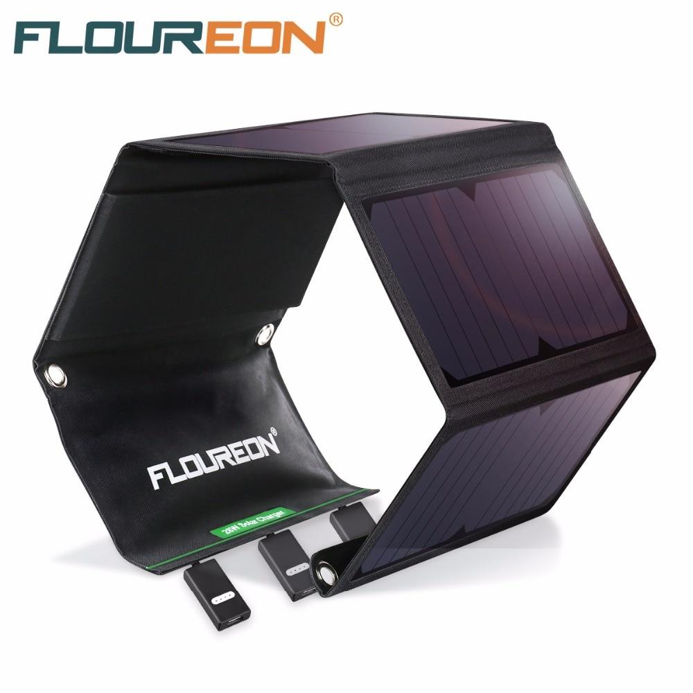 FLOUREON Panneau Solaire 5 v 28 w Portable Pliable Solaire Chargeur Power Bank avec Triple USB Ports Étanche pour Smartphone tablet