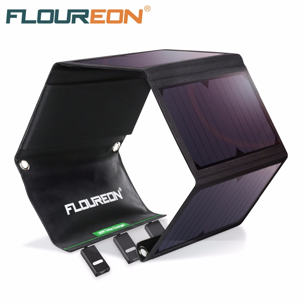 FLOUREON Solar Panel 5V 28W Portable Foldable Solar Charger Power Bank with Triple USB Por