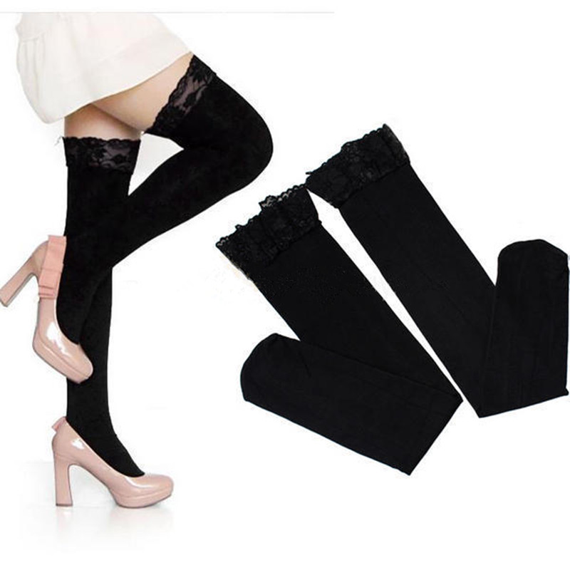 9c56401493b Detail Feedback Questions about New Fashion Women Sexy Thick Lace Top  Opaque Thigh Highs Stockings Solid Over the Knee Socks Tights Pantyhose  Hosiery on ...