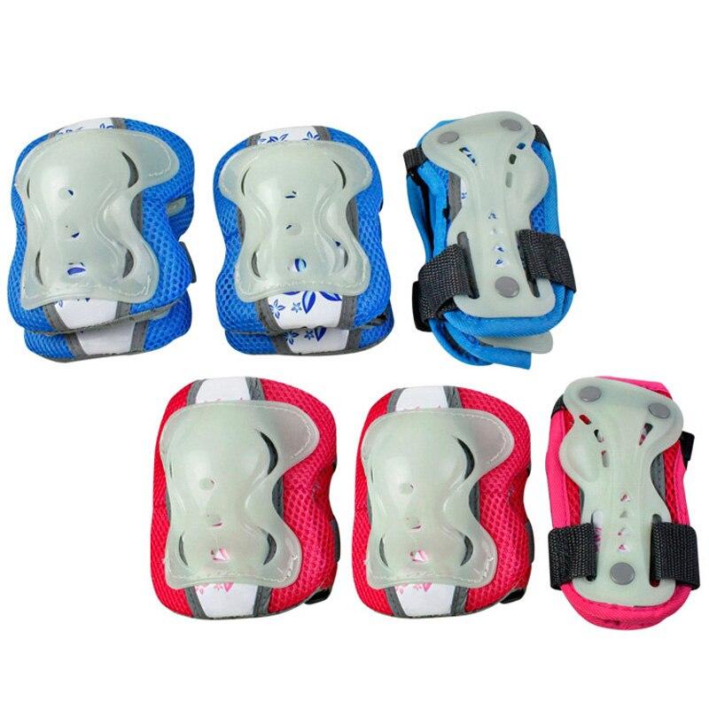 6 Teile/satz Glow-in-the-dark Skating Schutz Getriebe Sets Ellenbogen Pads Fahrrad Skateboard Ice Skating Roller Schutz Für Kinder