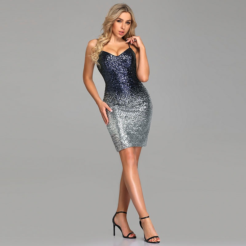 cd85eef7c65 Ever Pretty Sequins Cocktail Dresses New Arrival Sexy V Neck Spaghetti Straps  Party Gown Bodycon Vestido