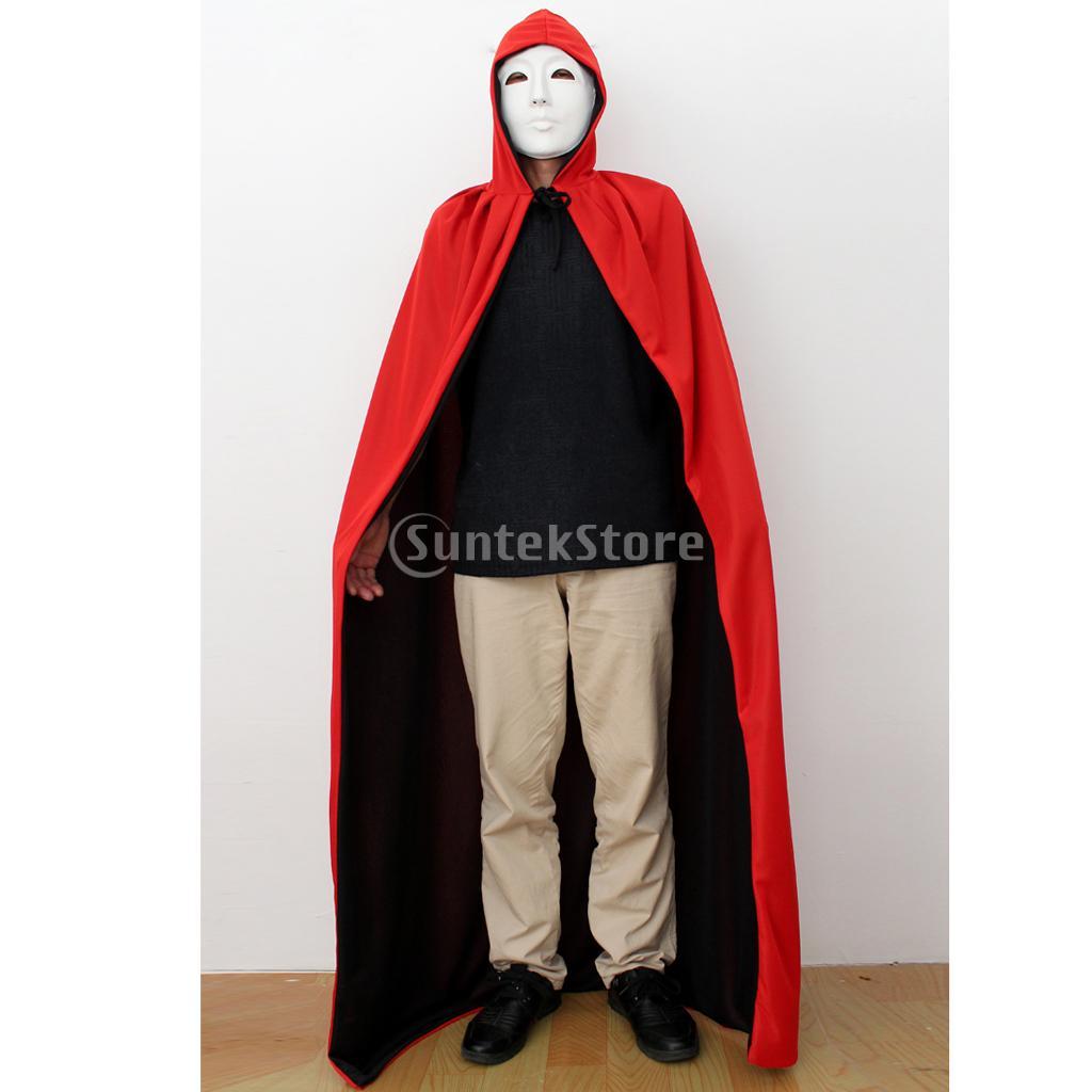 SPMART Halloween Hooded Cloak Cape Men's Dress Party Costume Red/Black Duplex