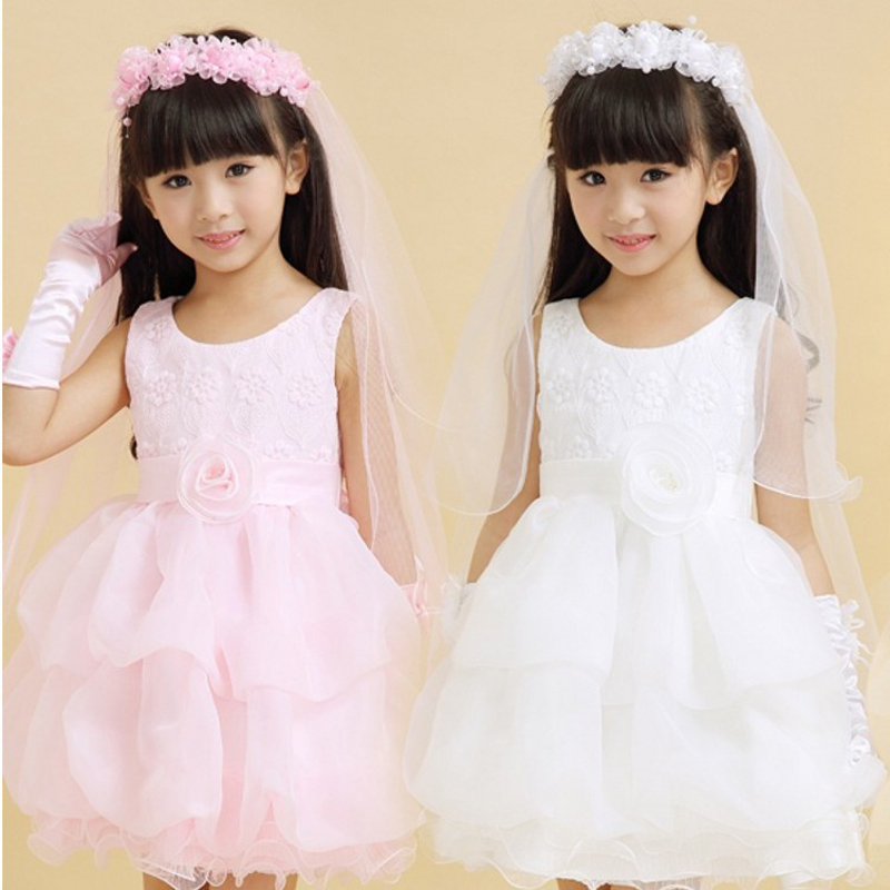 2019 White And Pink Flower Girl's Bridal Veil With Wreath Wedding Veil For Girls