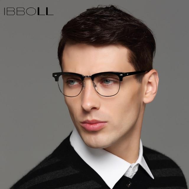 383acdf39b78d ibboll Men Vintage Optical Glasses Frame Transparent Round Eyeglasses Male  Luxury Glass Frames Brand Designer Oculos LA14110
