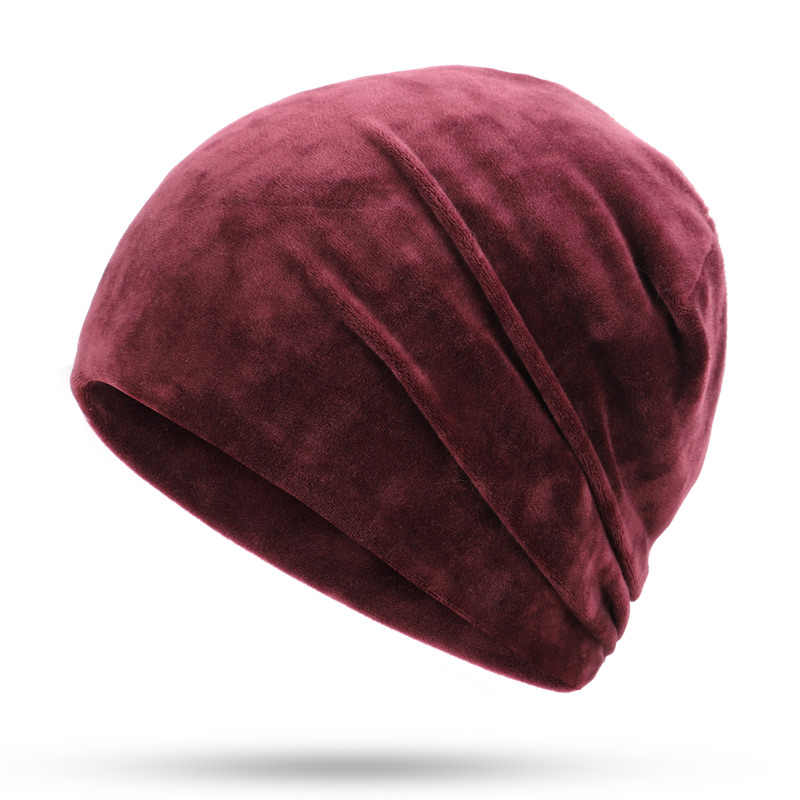 7d78bd53c40 ... Beanie Hat Women Winter Hats For Women Skullies Beanies Baggy Bonnet  Velvet Solid Lady Caps Autumn ...
