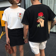 2019 t-shirt Femme t-shirts Women T Shirts Embroidered Rose Short Sleeve T-Shirt Large Size Women's Student Shirt G0717(China)