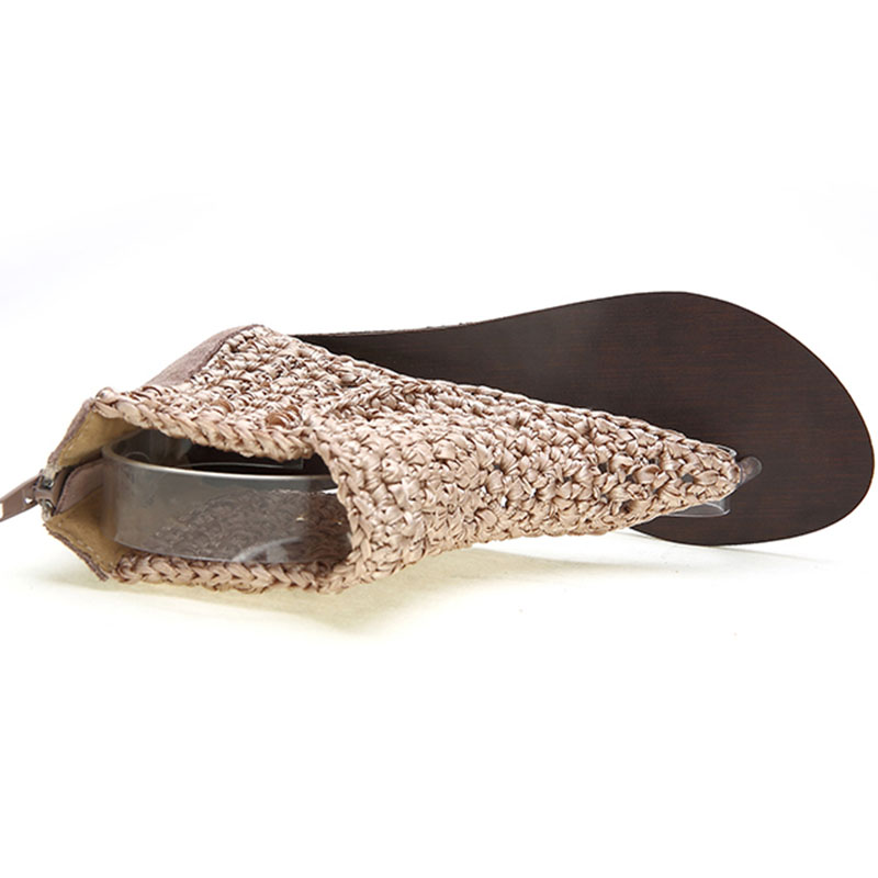Femmes en cuir véritable haut Top tongs 2019 nouveauté mode Sexy talons plats respirant cheville Wrap Lady sandales taille 32-43 - 2
