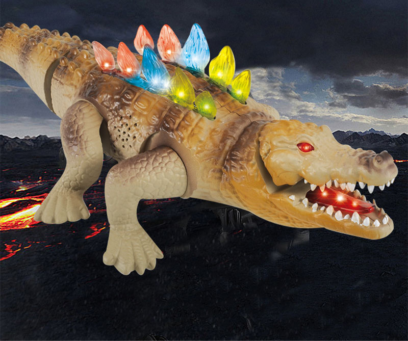 Electric Crawling Crocodile Toy Flashing Crocodile with Sound Glowing Animals Model Toys for Kids Children Interactive Toys Gift