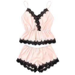 Womail/Модная одежда для девочек, милое кружевное шелковое нижнее белье с вышивкой и шорты, пижамный комплект, модная пикантная Удобная