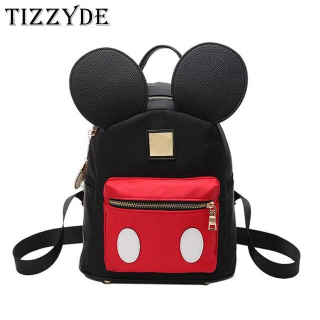 114a4cb8e19d Cute Backpack Minnie Shape Female School Bag Nylon Kids Bag pack Mickey Ears  Kawaii Mini Backpack