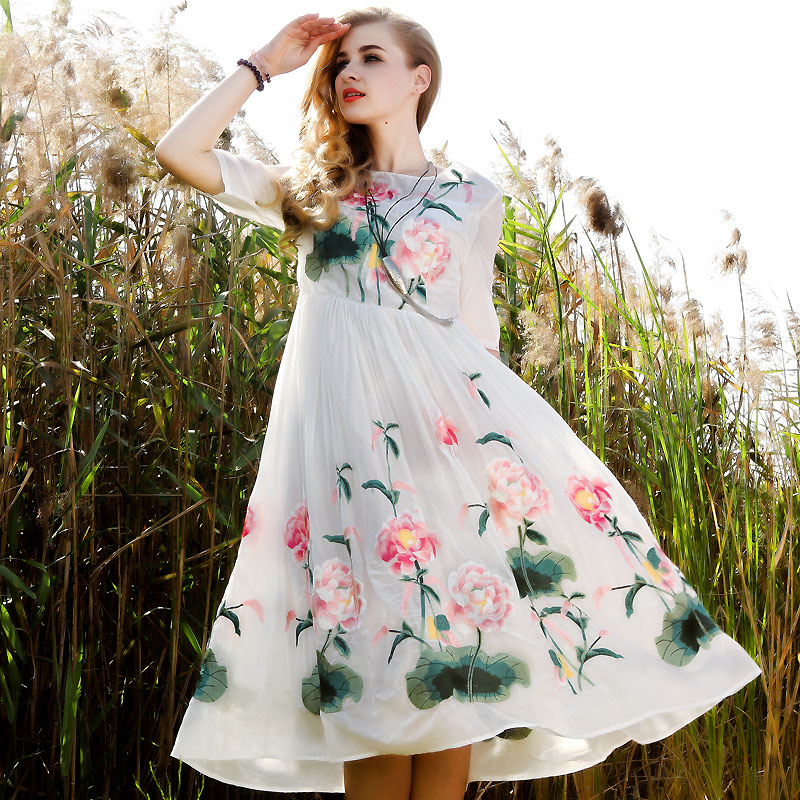 2017 Summer New Style Of Literature And Art Comfort Women's National Wind Embroidery Dress