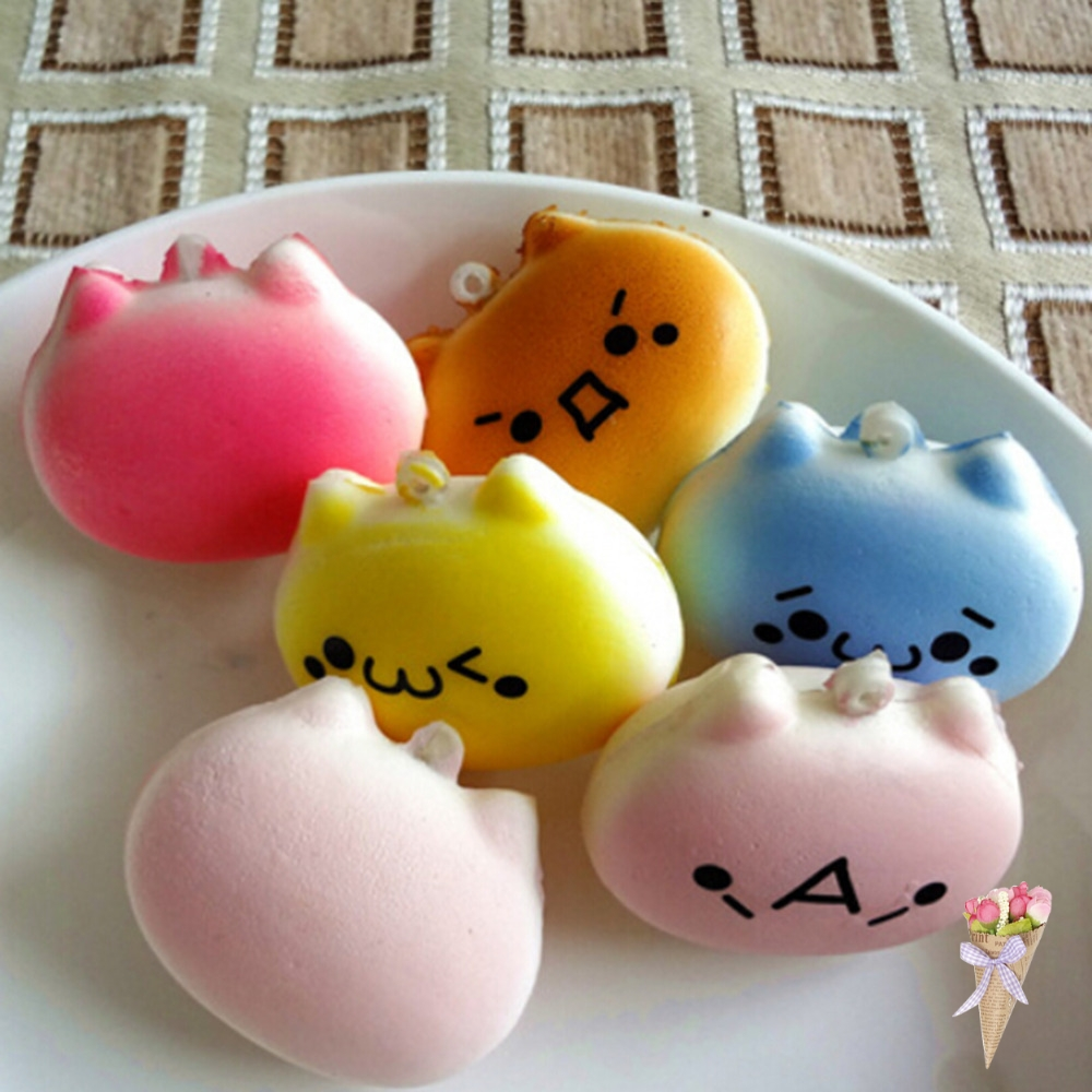 Mobile Phone Accessories 1 Pc Squishy Charms Pendant Squishes Kawaii Buns Bread Cell Phone Key Bag Strapcartoon Cat 4cm