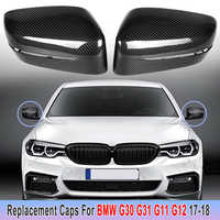 2Pcs Carbon Fiber Side Mirror Cover Replace Carbon Rear Side View Caps LHD For BMW 5 6 7 Series G11 G12 G30 G31 GT G32 2017-2018