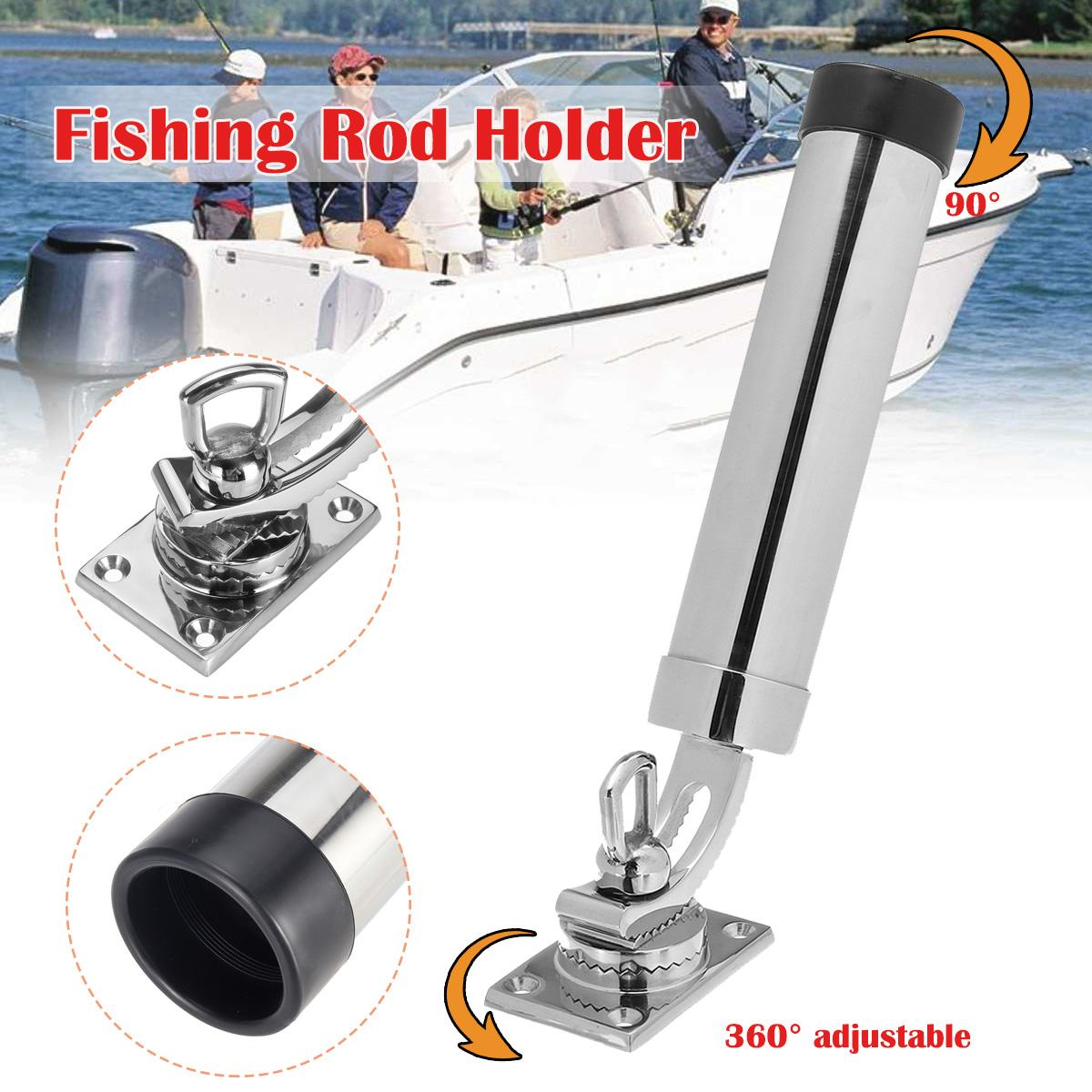 Adjustable Removable Deck Mount Stainless Steel Fishing Rod Holder Bracket Support For Marine Boat And Yacht 360 Degree