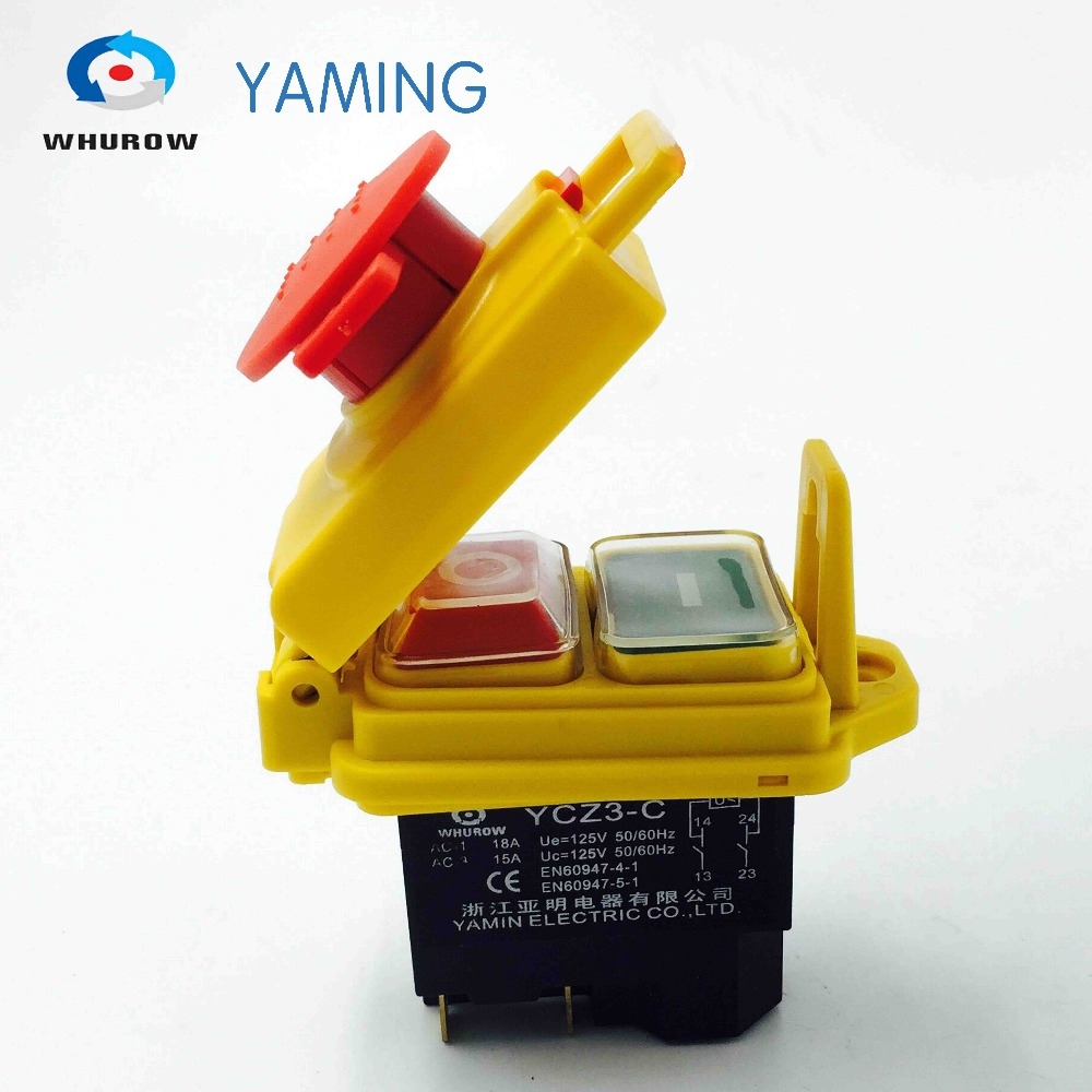 цена на Electromagnetic switch 5 Pin On Off 2 Phase Momentary Push Button Protective cover waterproof YCZ3-C Emergency stop 10A 125V