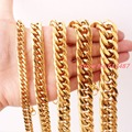 "7-40"" 6/8/10/12/14/16/18/21mm Fashion Gold Plated Stainless Steel Men's Curb Cuban Chain Necklace Or Bracelet Gift Jewelry"